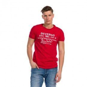 Ανδρική Μπλούζα - Devergo Jersey T-Shirt Κόκκινο - 1D914064SS0105