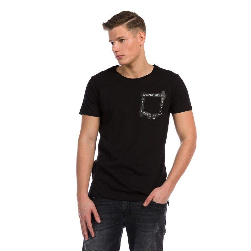 Ανδρική Μπλούζα - Devergo Long Fit T-Shirt Μαύρο - 1D914030SS0105