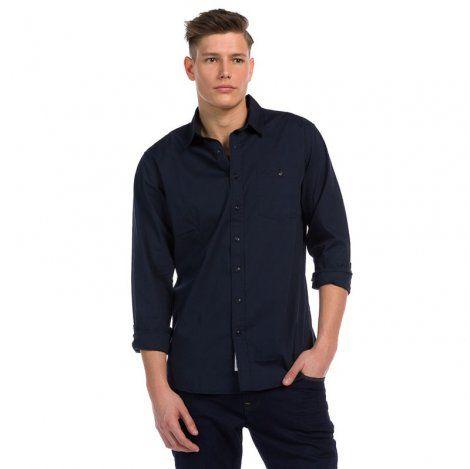 Ανδρικό Πουκάμισο - Devergo Slim Fit Shirt Μπλε Σκούρο - 1D915009LS1301