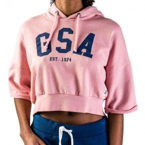 Γυναικεία Μπλούζα - GSA Glory Cropped Hoodie Ροζ - 37-28001