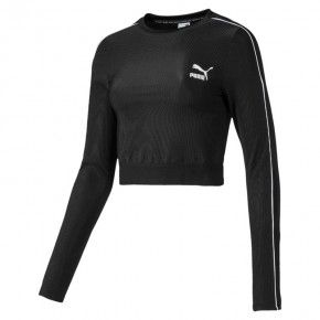 Γυναικεία Μπλούζα - Puma Classics Rib Cropped Long Sleeve - 595196-01