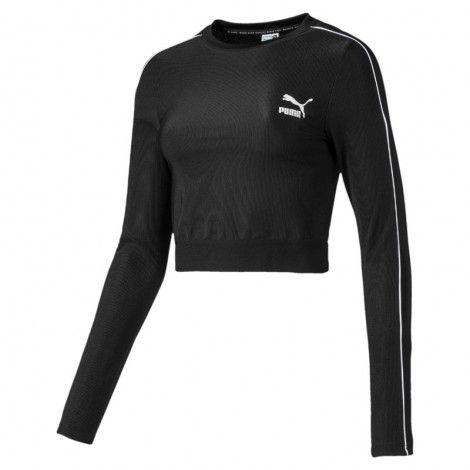 Γυναικεία Μπλούζα - Puma Classics Rib Cropped Long Sleeve - 595196-01