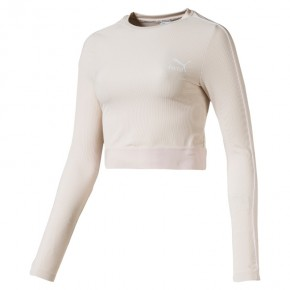 Γυναικεία Μπλούζα - Puma Classics Rib Cropped Long Sleeve - 595196-23