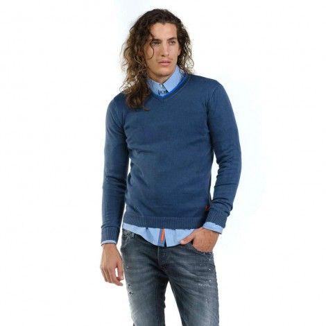 Devergo Blue Men's Knitted Jumper - 1D926001LS0100-14