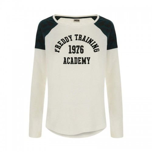 Freddy Long-sleeve slub jersey t-shirt with a campus print - F8WTRT6-W69VCA0