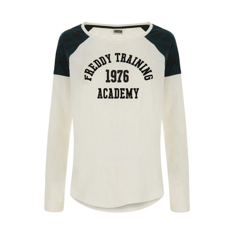 Freddy Long-sleeve slub jersey t-shirt with a campus print - F8WTRT6-W69VCA0