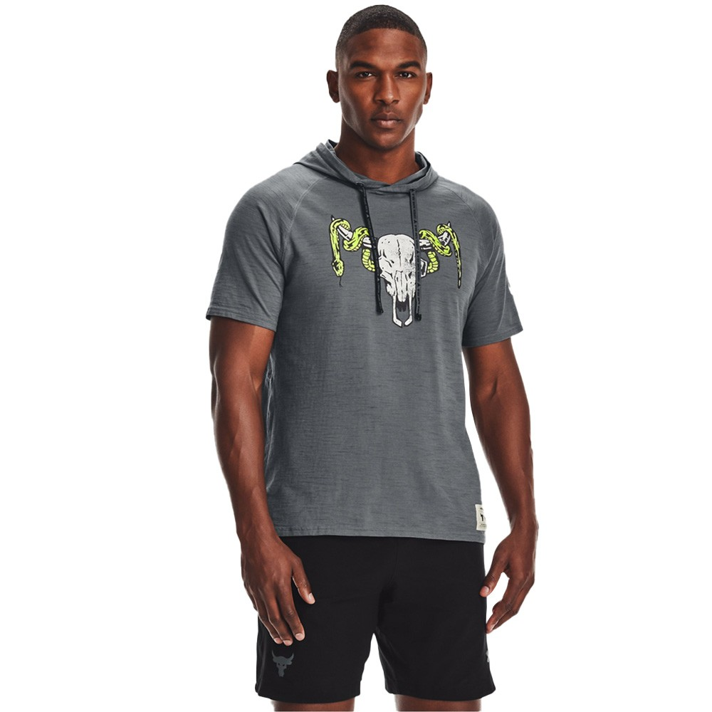 Under Armour Men's Project Rock Charged Cotton® Short Sleeve Hoodie - 1361719-012