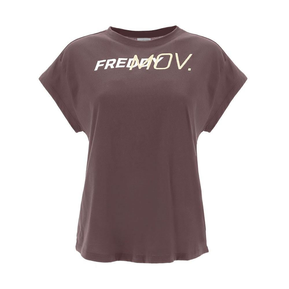 Freddy comfort-fit t-shirt with ultrashort sleeves and a gold glitter print - F1WFTT2-K86